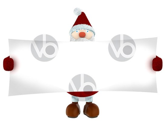 stock-photo-3D-Santa-Claus-holding-a-big-white-paper