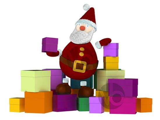 stock-photo-3D-Santa-Claus-sitting-on-a-stack-of-colored-gift-boxes-and-holding-a-small-present-box