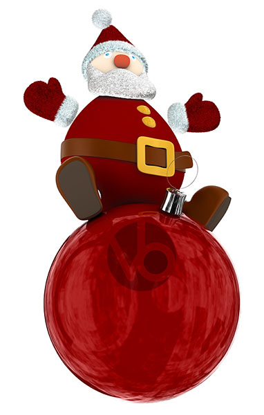 stock-photo-Cartoony-Santa-Claus-standing-on-top-of-a-red-Christmas-globe