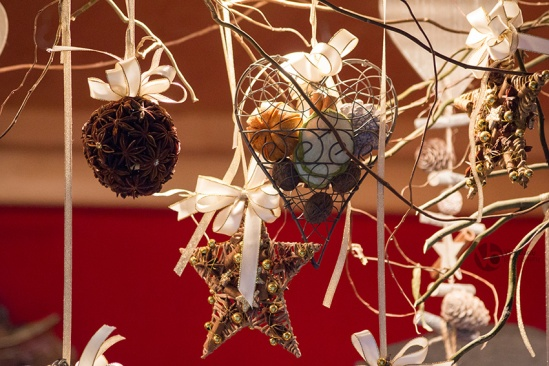 Heart-shaped-and-star-shaped-Christmas-ornaments-and-anise-globe